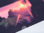 Белая футболка с авторской фотографии заката с надписью «ВЕСНА»