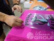 Розовые футболки с изображением в виде кота