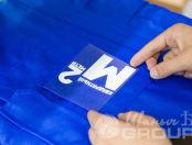 Синие рабочие комбинезоны с логотипом и надписью «СК КВАДРАТНЫЙ МЕТР»