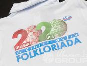 Белые футболки-поло с надписью «2020 FOLKORIADA»