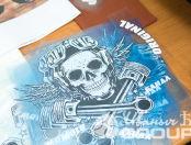 Черные футболки с рисунком и надписью «МОТО БАНДА»
