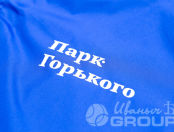 Синие ветровки с текстом «Парк Горького»