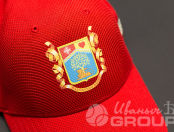 Красные бейсболки с гербом «В движении жизнь»