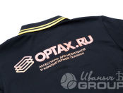 Черная футболка-поло с логотипом «OPTAX RU»
