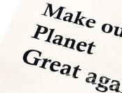 Кремовые сумки с текстом «MAKE OUR PLANET»