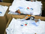 Печать рисунков и логотипов ко дню победы на белых свитшотах