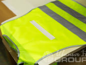 Желтые детские жилеты с логотипом «ГАОУ ШИК 16»