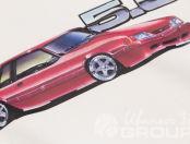 Белая толстовка с рисунком красной машины и логотипом «Мустанг»