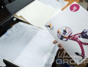 Белые синтетические футболки с картинкой и логотипом «VICTORY LANE GROUP»