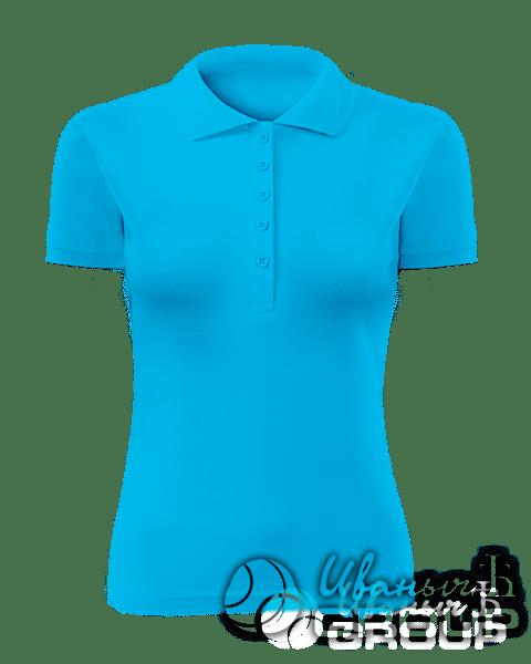 Голубое поло женское