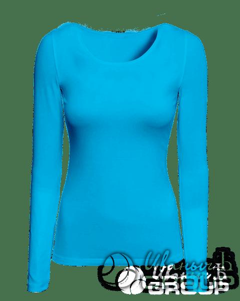 Голубой лонгслив женский