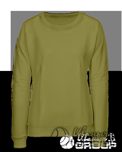 Оливковый свитшот женский