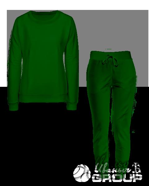 Темно-зеленый костюм женский