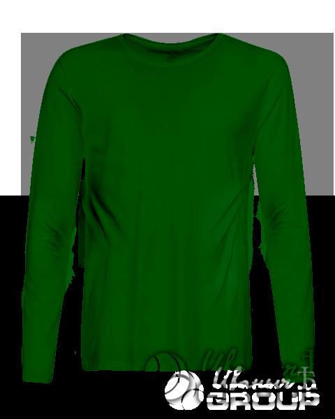 Темно-зеленый лонгслив премиум