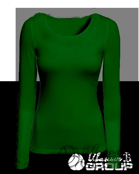 Темно-зеленый лонгслив женский