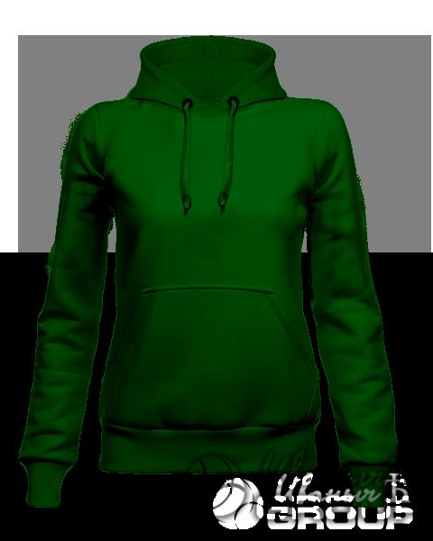Темно-зеленое женское худи