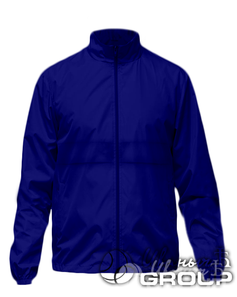 Темно-синяя ветровка с капюшоном