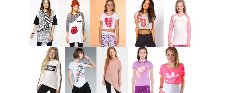 Фото разных фасонов модных в 2019 футболок для девочек