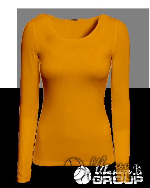 Оранжевая футболка с длинным рукавом женская
