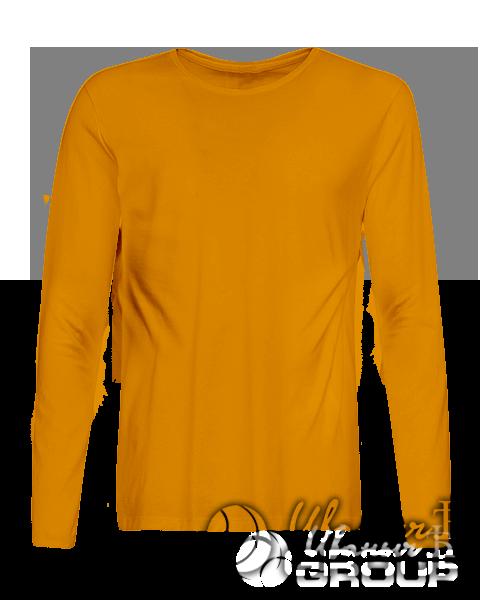 Оранжевая футболка с длинным рукавом мужская