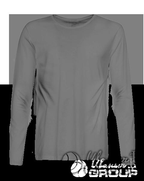 Серая футболка с длинным рукавом мужская