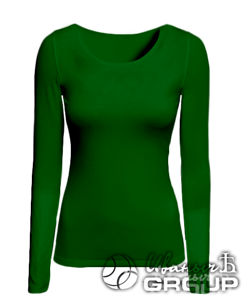 Темно-зеленая футболка с длинным рукавом женская