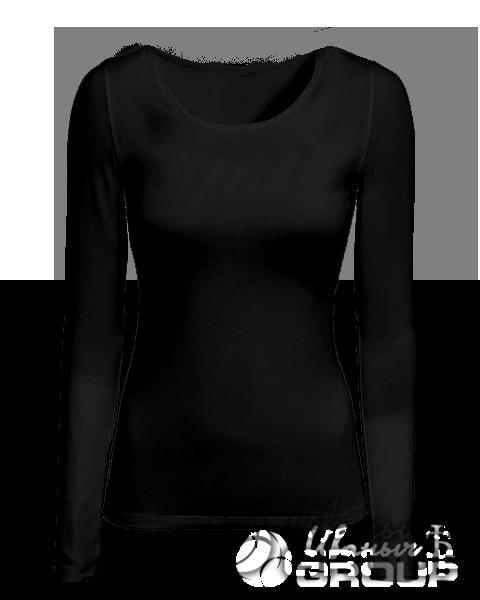 Черная футболка с длинным рукавом женская