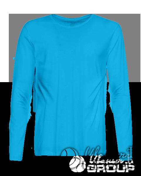 Голубая футболка с длинным рукавом мужская