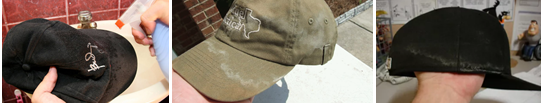 Фото грязных бейсболок, требующих чистки