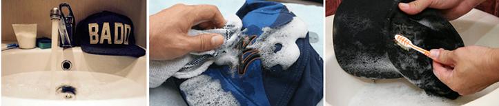 Фото этапов ручной стирки кепок с прямым козырьком