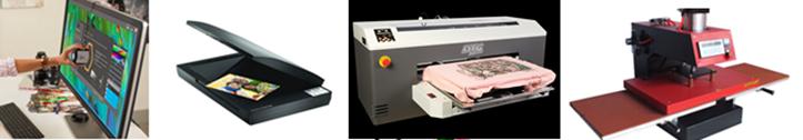 Фото разновидностей оборудования для цветной цифровой печати на одежде
