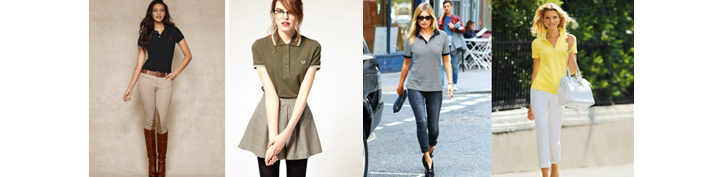 Фото модных футболок-поло для девушек