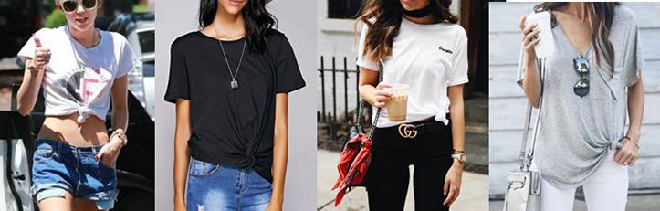 Фото модных подвязанных футболок для девушек