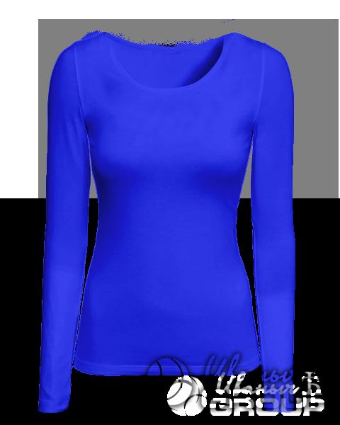 Синяя футболка с длинным рукавом женская