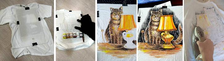 Фото, иллюстрирующие этапы рисования на футболках