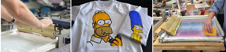 Фото используемых трафаретов и результат шелкотрафаретной печати на футболках