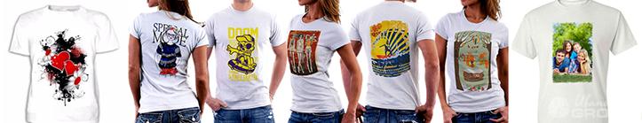 Фото футболок с изображениями, полученными методом сублимации