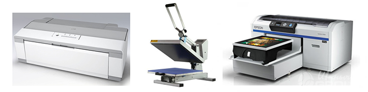 Фото принтеров и термопресса, используемых для сублимационной печати
