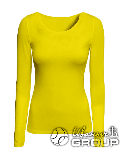 Желтая футболка с длинным рукавом женская