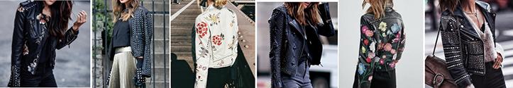 Фото модных в 2019 кожаных женских ветровок с декором