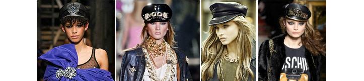 Фото модных фуражек на женщинах, одетых в стиле милитари