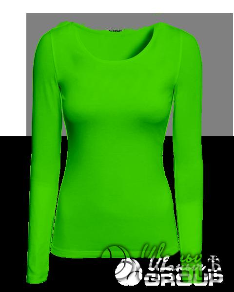 Зеленая футболка с длинным рукавом женская