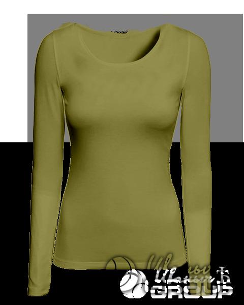 Оливковая футболка с длинным рукавом женская