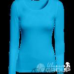 Голубая футболка с длинным рукавом женская