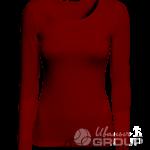 Бордовая футболка с длинным рукавом женская