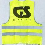 Печать логотипа «GS групп» на сигнальные жилеты